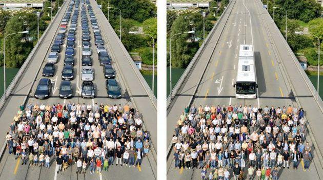 Auto vs Trasporto pubblico: Foto che non lasciano indifferenti